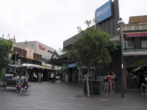 Bondi Junction Mall - Sydney tram remnants - rounded corner on Oxford Street