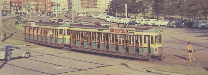 Toastrack Tram at Bondi Beach.