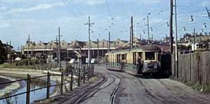 Departing Rozelle Tram Depot in 1955