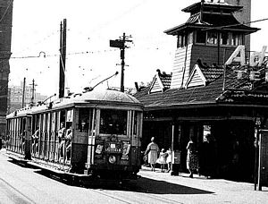 A Lilyfield Tram is ready to depart from Railway Square